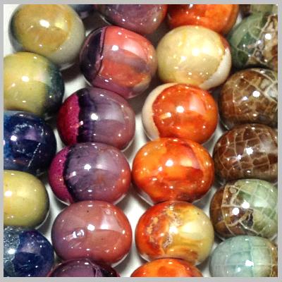 Κεραμικά Στοιχεία - Χάντρες(Επισμαλτωμένα Πολύχρωμα-0230)