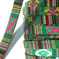 COT.CORD 10MM FLAT ETHNIC GREEN MULTI